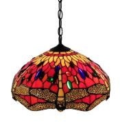 Warehouse of Tiffany P161467A Tiffany Style Red Dragonfly Hanging Lamp