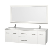 Wyndham Collection Bathroom Centra 180cm . Double Vanity in White with Man-Made Stone Vanity Top in White and Square Porcelain Under-Mounted Sinks WCV00972WHWHDB