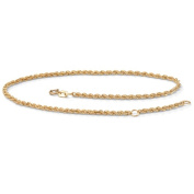 PalmBeach Jewelry 45524 10k Yellow Gold Tailored Rope Ankle Bracelet Adjustable 9 to 10