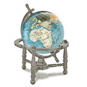 Alexander Kalifano GNT80AS-BB 7.6cm Gemstone Globe with Antique Silver Nautical 3-Leg Stand - Bahama Blue
