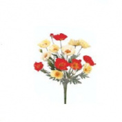FBP832-OR-YE 21 in. Orange- 12 Yellow Poppy Bushes- each bush has 20 stems