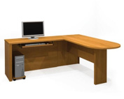 Bestar 60878-1368 Embassy L-shaped workstation kit including assembled pedestal in Cappuccino Cherry finish