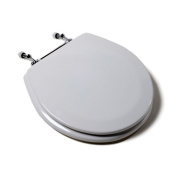 Jones Stephen C1B4R2-00CH Deluxe Molded Round Wood Toilet Seat with Chrome Hinges- White