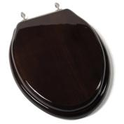 Jones Stephen C1B1E-18BN Designer Solid Elongated Wood Toilet Seat with PVD Brushed Nickel Hinges- Dark Brown