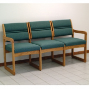 Wooden Mallet DW2-3MOFG Valley Three Seat Sofa in Medium Oak - Foliage Green