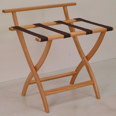 Wooden Mallet LR4-LOBRN WallSaver Luggage Rack in Light Oak with Brown Webbing
