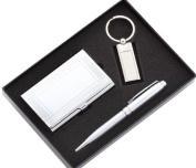 Aeropen International GCK-93 Silver Ballpoint Pen Geometric Border Card Case and Key Ring with Gift Box