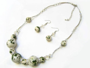 Alur Jewelry 12600GN 18 in. Ceramic Necklace and Earring set in Green
