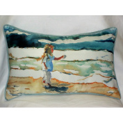 Betsy Drake HJ602 Girl at the Beach Art Only Pillow 15x22