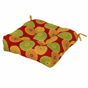 Greendale Home Fashions Indoor/Outdoor Chair Cushion, Flowers on Red, 50cm