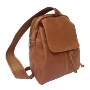 Piel Leather 9821 Small Drawstring Backpack - Saddle