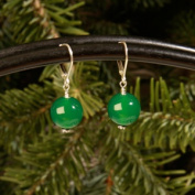 Betty Rocks BERDGA10112001LB Euro Lever Back 12mm Round Dyed Green Agate Earrings