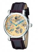 Charles-Hubert Paris 3887-A Mens Stainless Steel Skeleton Dial Mechanical Watch