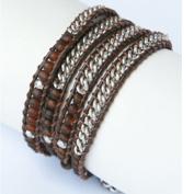 Zirconmania 610B-8695BRN Silver and Leather Brown Beaded Wrap Bracelet