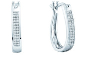 Gold and Diamonds SEF6932-W 0.15CT-DIA MICROPAVE HOOPS- Size 7