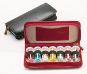 Budd Leather 544007-1 Leather 7 Vial Pill Case - Black