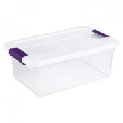 Sterilite 15 Quart ClearView Latch Storage Container With Sweet Plum Handles 17 - Pack of 12