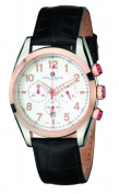 Charles-Hubert Paris 3895-RG Mens Rose Gold-Plated Bezel Stainless Steel White Dial Chronograph Watch