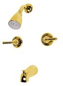 Kingston Brass Kb242 Twin Handles Tub-Shower Faucet - Polished Brass Finish