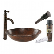Premier Copper Products BSP1-VO17WDB Oval Wired Rimmed Vessel Hammered Copper Sink with ORB Single Handle Vessel Faucet