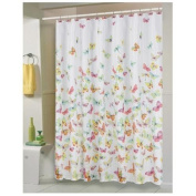 Carnation Home Fashions 100-Percent Polyester Fabric 180cm by 180cm Shower Curtain, Standard, Shannon, Multi Colour Butterfly Print