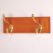 Wooden Mallet HCR-2BMO 2 Hook Coat Rack in Medium Oak - Brass