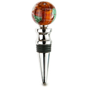 Alexander Kalifano WBS30BS-CPR Gemstone Globe Bright Silver Bottle Stopper - Copper Amber
