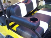 Stenten Golf Cart Accessories AR0CBL Arm Rest Rear - Cushion with Cup Holder - Black Pair