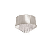 Dainolite JUL184FH-PC-117 4 Light Crystal Flush Mount Fixture with Oyster Organza Bell Shade - Polished Chrome