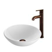 Vigo Industries VGT202 White Phoenix Stone Glass Vessel Sink with Oil Rubbed Bronze Faucet - Oil Rubbed Bronze