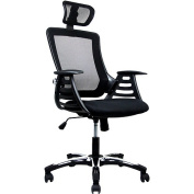 Techni Mobili Mesh High-Back Chair with Headrest and Moulded Arms, Black