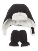 Nice Caps Infant & Toddler Boys Black Fleece Trapper Hat & Mittens Set Aviator