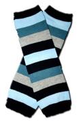Precious Eggs Unisex-Baby Thick Stripes Leg Warmer Blue/Grey & Black