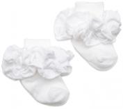 Jefferies Socks Double Ruffle Turncuff Sock, White