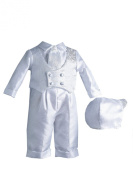 Lauren Madison Baby boy Christening Baptism Special occasion Infant Shantung Straight Leg Pleated Pant With Double Breasted Vest