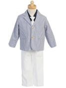 Boys Seersucker - Long White Pants with Navy Pinstripe Jacket