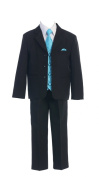 Toddlers Oxford 5 Piece Black Suit with Colourful Vest in 7 Colours