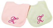 Princess Linens Embroidered Cotton Knit Bib Set - Pink/Sage