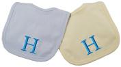 Princess Linens Embroidered Cotton Knit Bib Set - Blue/Yellow