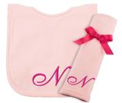 Princess Linens Embroidered Cotton Knit Bib and Burp Set - Pink