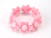 Fluffy Cotton Flowers - Baby Girl & Toddler Hair Band / Ponytail Holder - Pink & Yellow