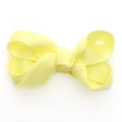 Reflectionz Baby Girls Yellow Grosgrain Ribbon Hair Bow Clippie