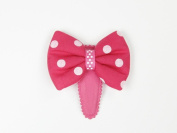 Puffy Polka Dot Bow - Baby Girl & Toddler Easy Snap Clip - Pink, Red & White