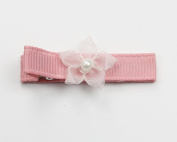 Pearl Pinky Flower - Baby Girl & Toddler Hair Clip - Purple & Pink
