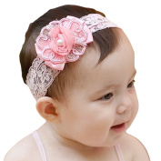 LOCOMO Baby Girl Cute Headband Pink Flower Floral Elastic Lace Band FBA024