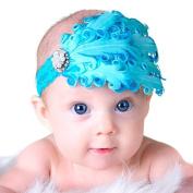 LOCOMO Baby Girl Cute Headband Beaded Blue Feather Elastic Lace FBA026