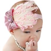 LOCOMO Baby Girl Cute Headband Pink Feather Big Sequin Bling Crystal Bow FBA028