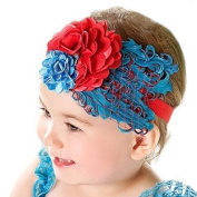 LOCOMO Baby Girl Cute Headband Blue Red Flower Feather FBA027