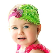 LOCOMO Baby Girl Headband Green Feather Pink Sequin Ribbon Bling Crystal FBA022