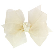 Wee Ones® Mini Classic Organza Double Hair Bow - Ecru